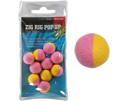 GIANTS FISHING Pěnové plovoucí boilie Zig Rig Pop-Up pink-yellow 14mm,10ks