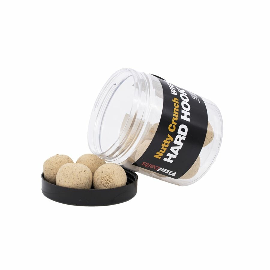 Vitalbaits: Boilie Hard Hook Bait Nutty Crunch White 18mm 100g