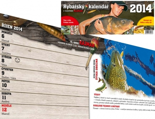 rybarsky kalendar KAJMAN Rybářský kalendář 2014  Na Soutoku rybarsky kalendar