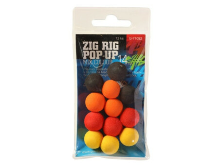 GIANTS FISHING Pěnové plovoucí boilie Zig Rig Pop-Up 14mm mix color,12ks