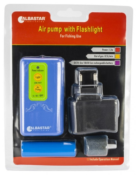 ALBASTAR Vzduchování AIR PUMP WITH FLASHLIGHT
