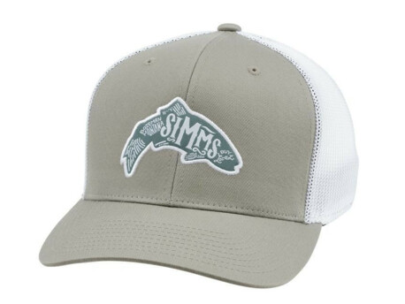 SIMMS Kšiltovka flexfit trucker woodblock trout coffee