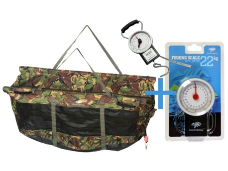 GIANTS FISHING Vážící sak plovoucí Weigh Sling Floating Luxury Camo XL + Váha s metrem Scale 22kg