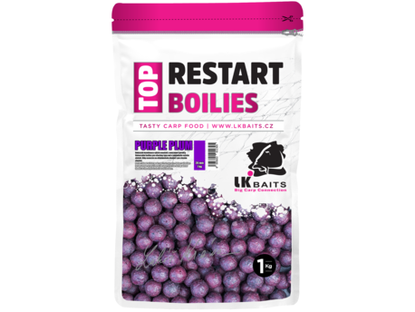 LK Baits Top ReStart Boilies Purple Plum 14 mm, 1kg